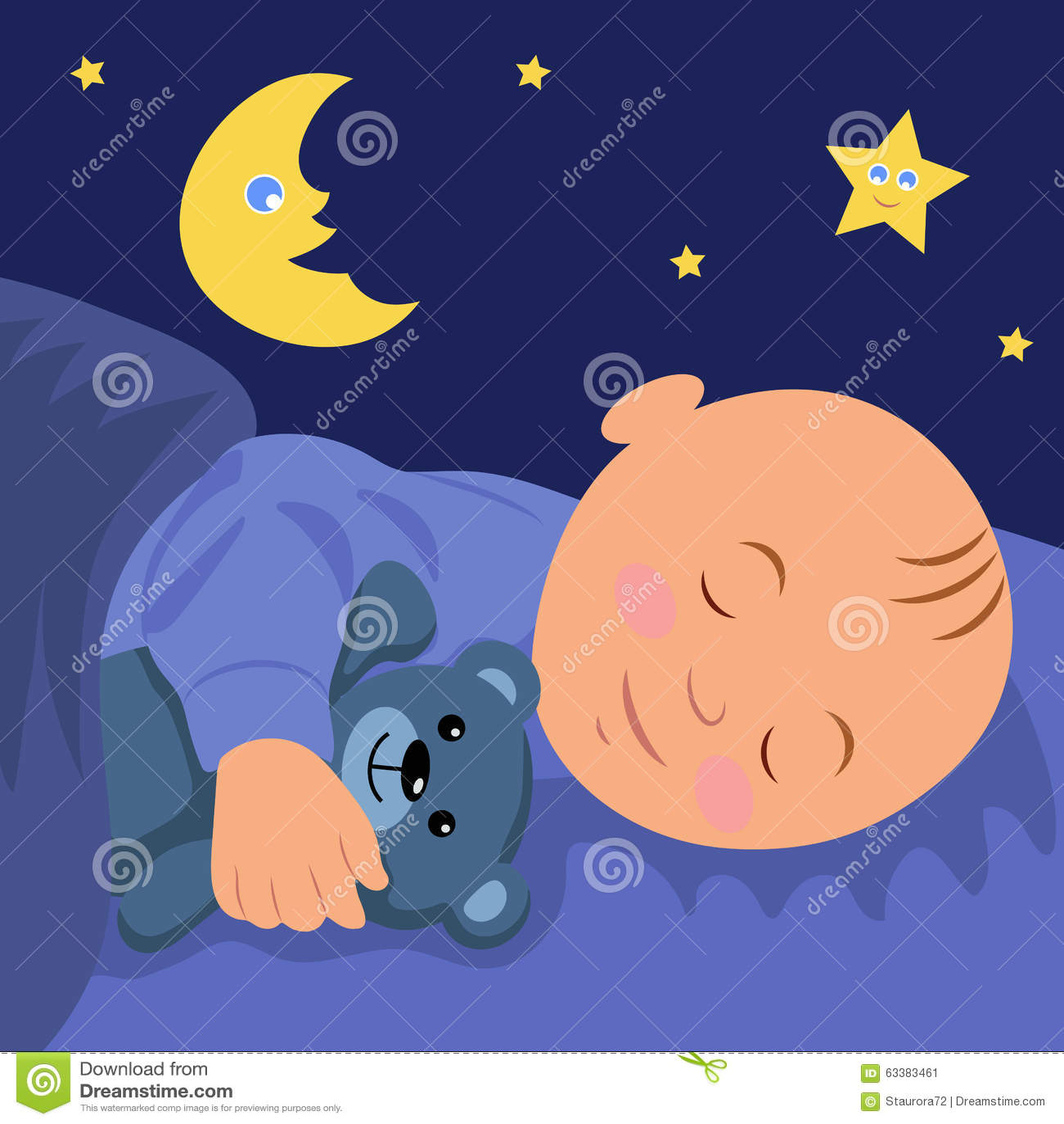 The Baby Is Asleep Hugging Teddy Bear Vector Illustration