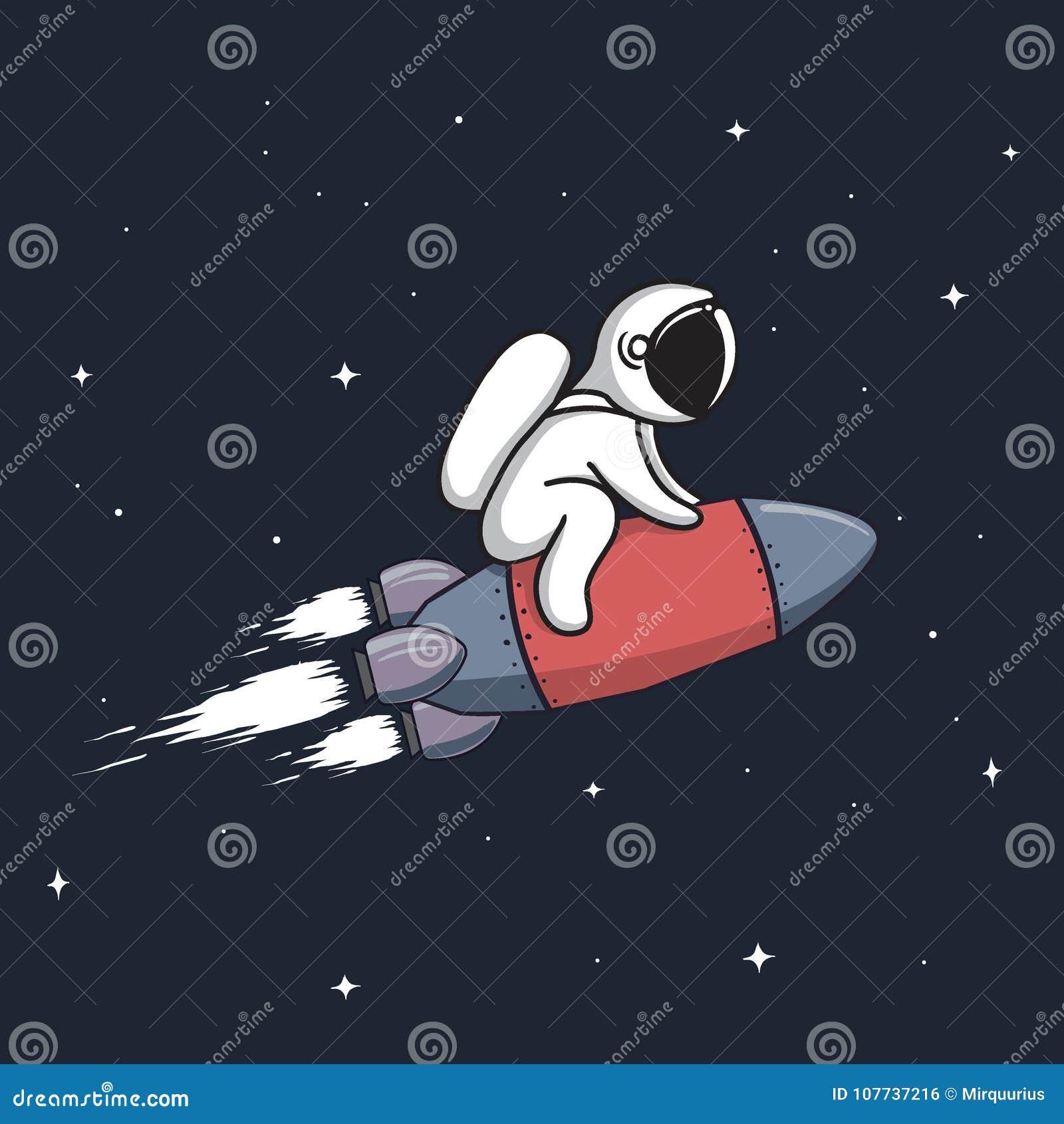 Baby astronaut flying on rocket