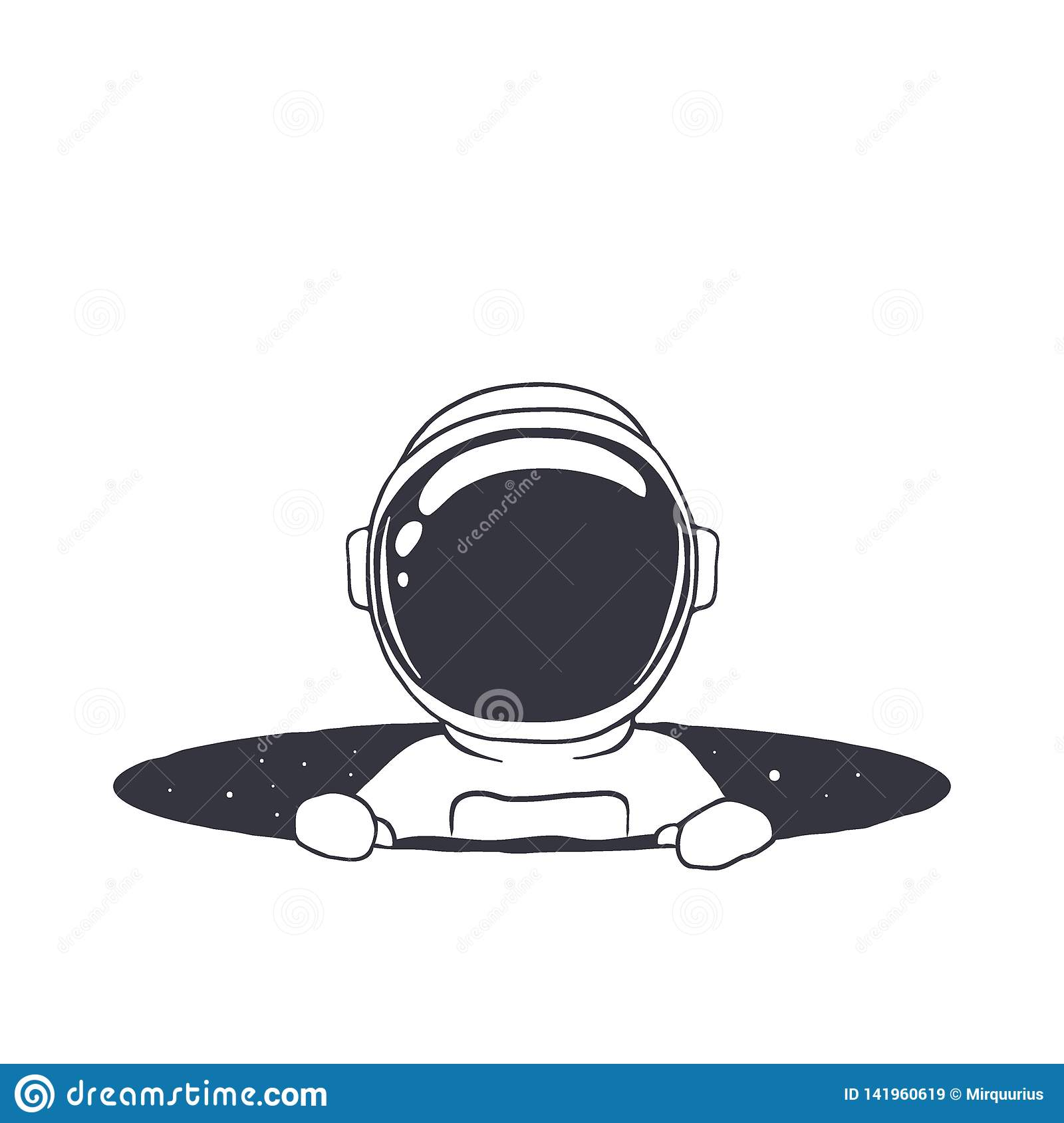 Baby astronaut in hole