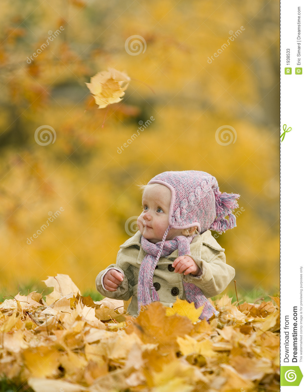 Baby In Autumn Leaves Stock Image Image Of Fall Outdoors