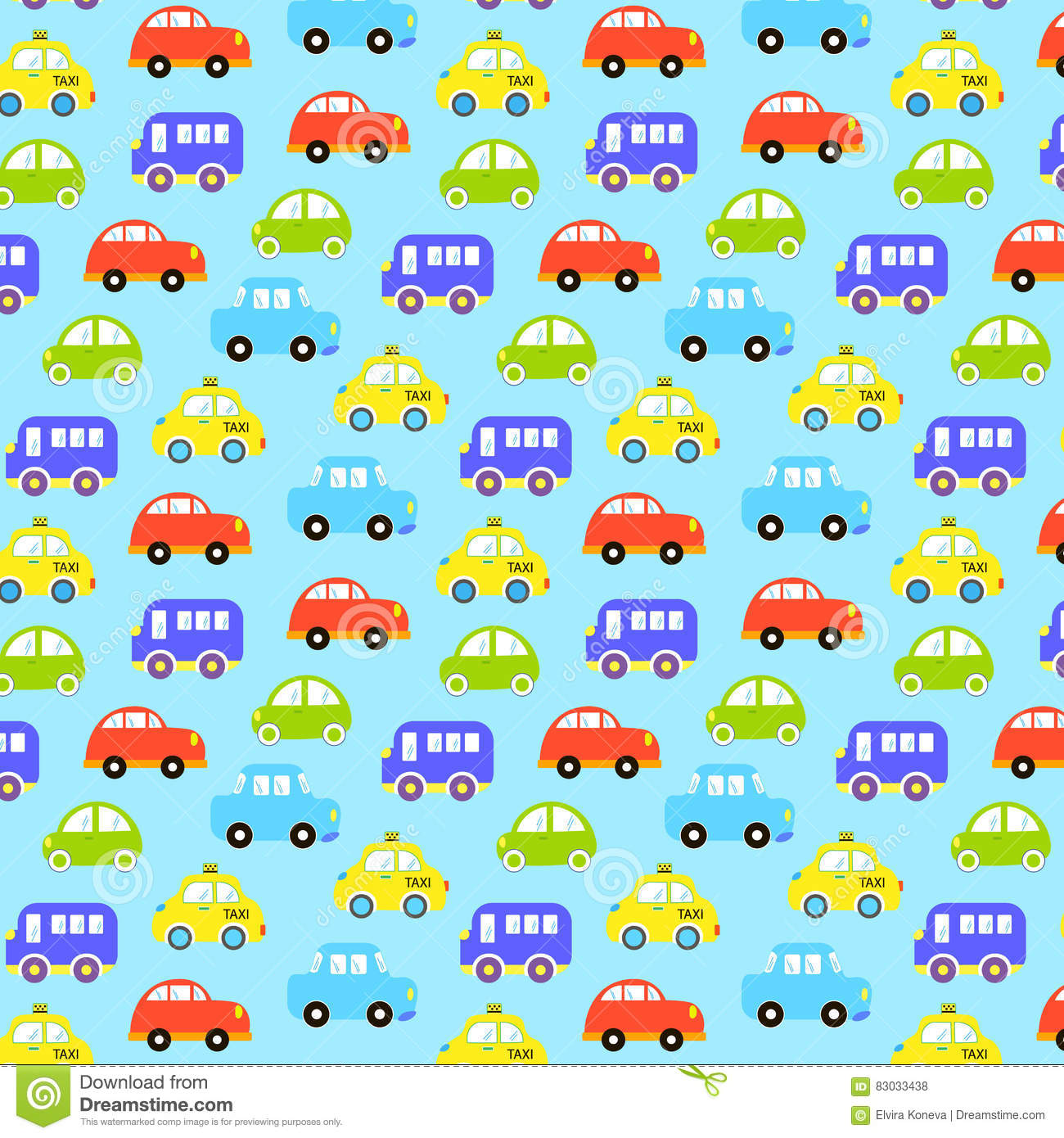 Colorful Car Pattern Vector Illustration Vector