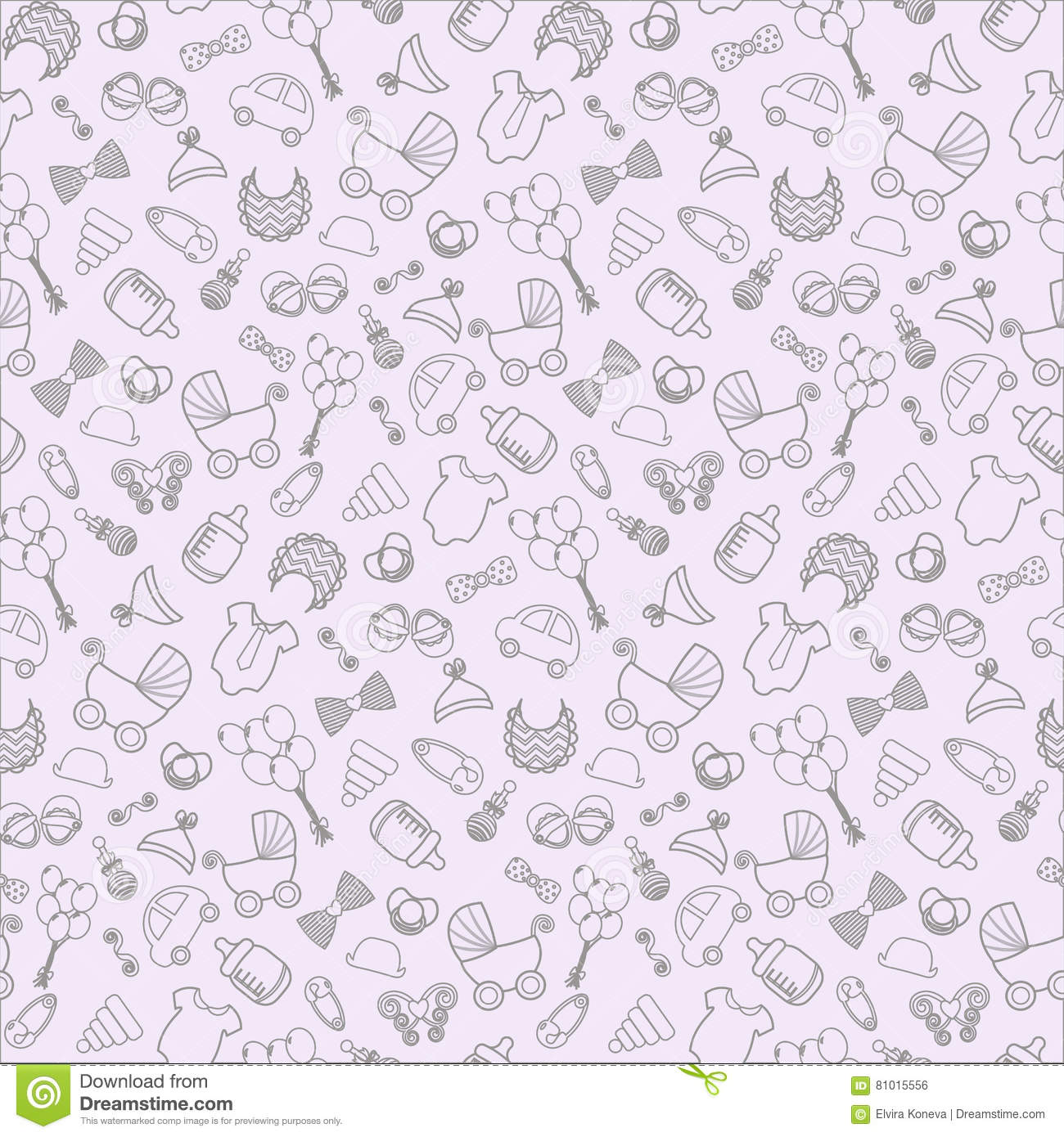 Baby Background Vector Seamless Pregnancy Pattern For Shower Outline Stock Vector Illustration Of Birth Ball 81015556