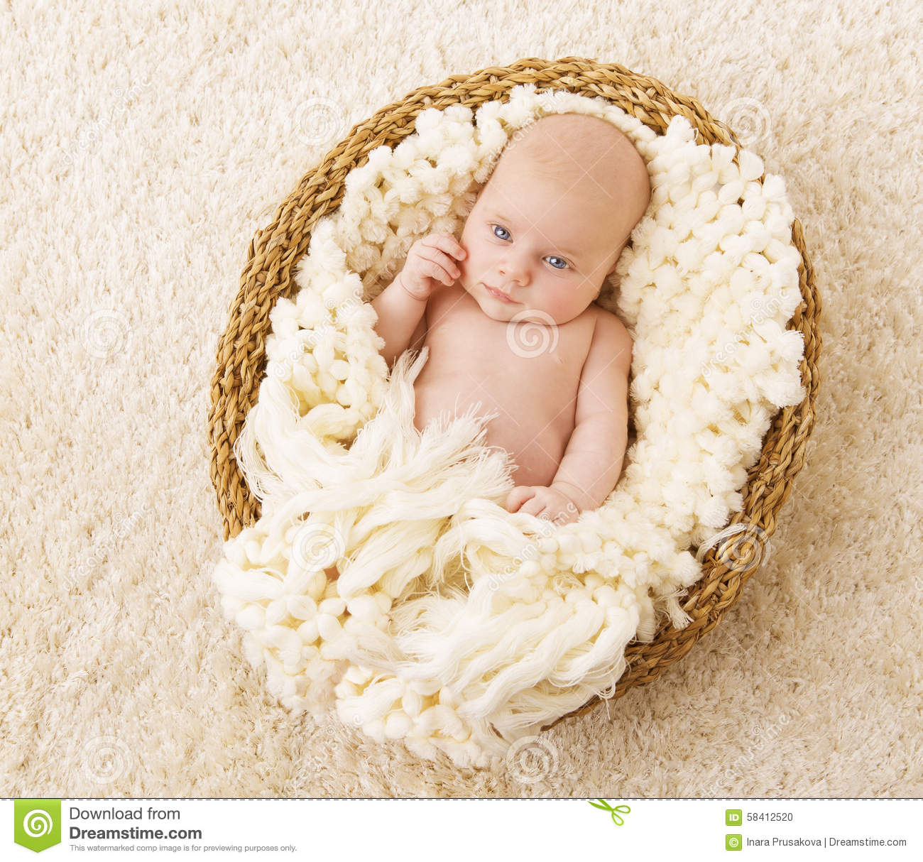Baby In Basket New Born Kid Lying Blanket One Month