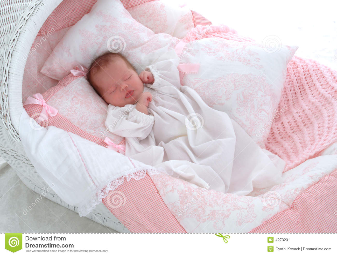 Baby In Bassinet Stock Image Image 4273231