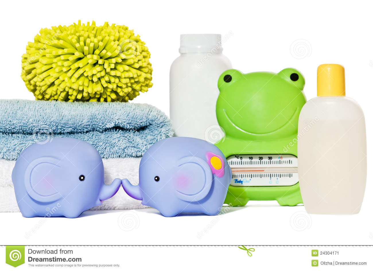 Baby bath accessories isolated