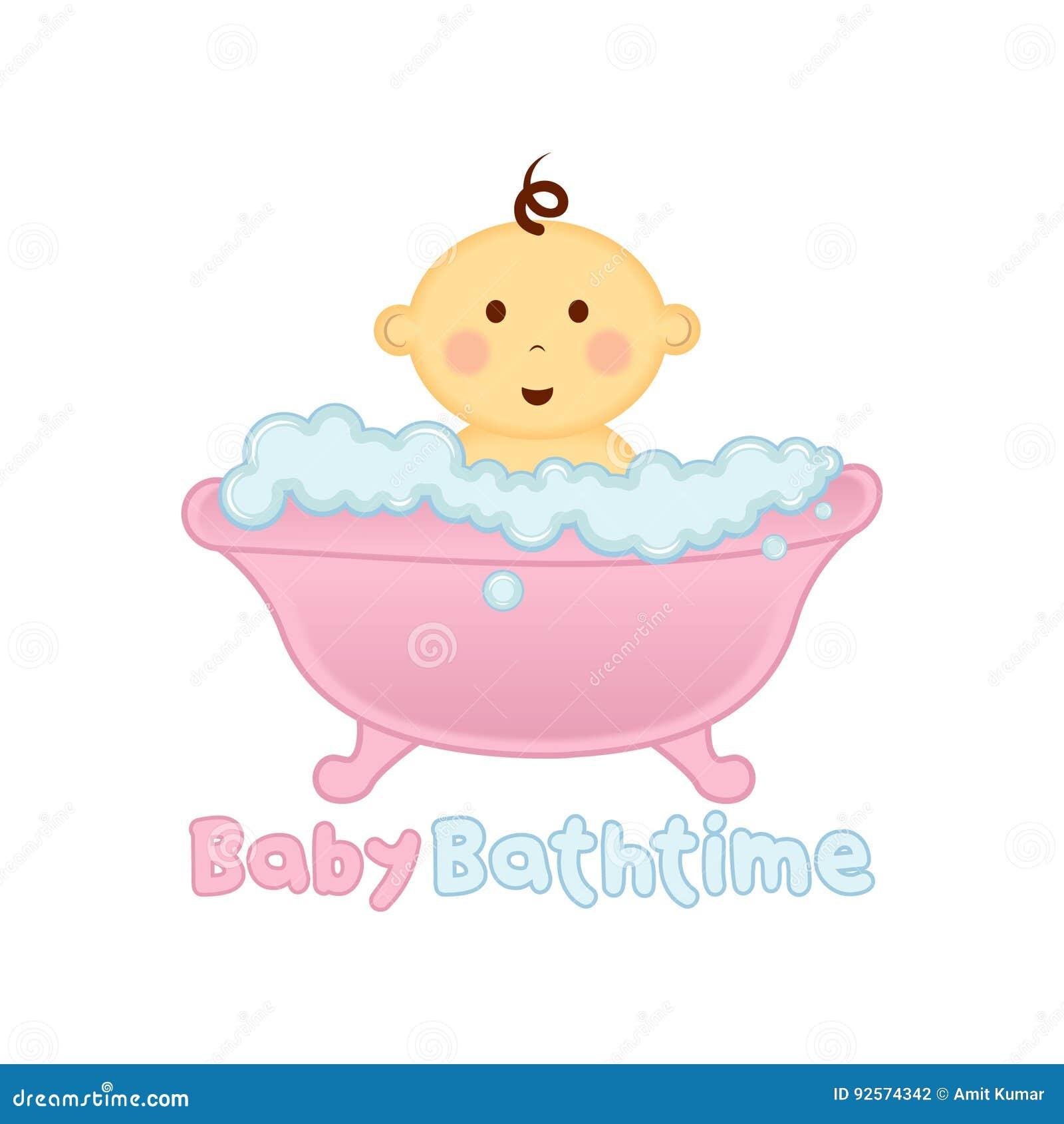 Baby Bath Time Logo Template, Baby Bathing Logo, Baby Shower Stock Vector