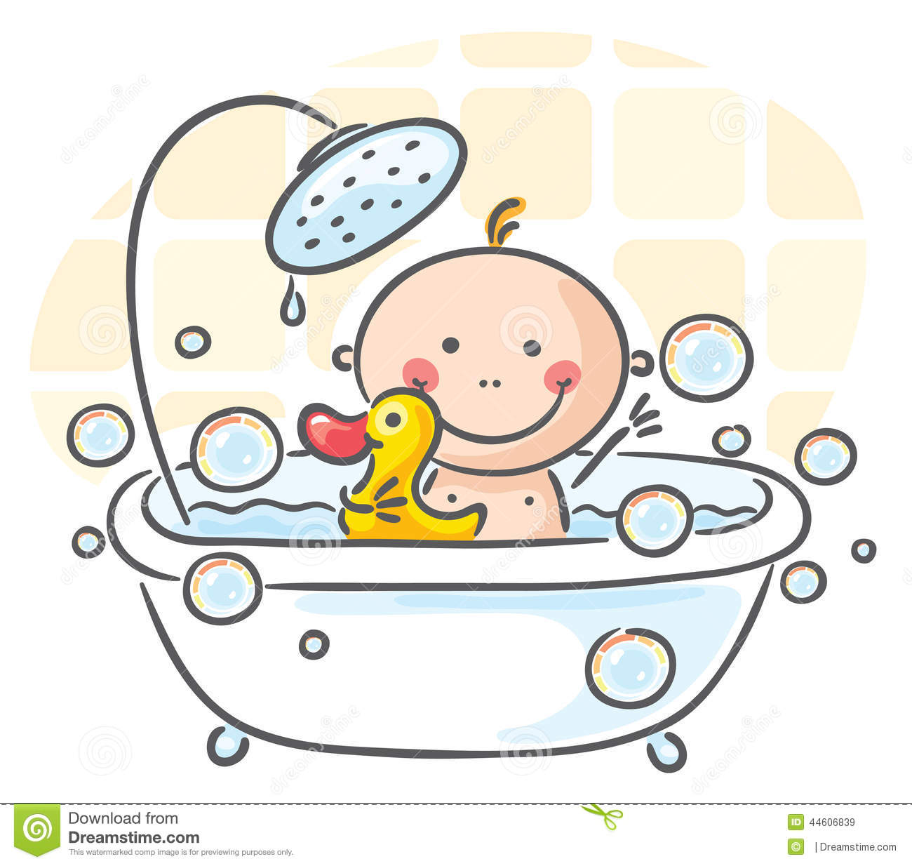 baby in the bath stock vector image 44606839. Black Bedroom Furniture Sets. Home Design Ideas