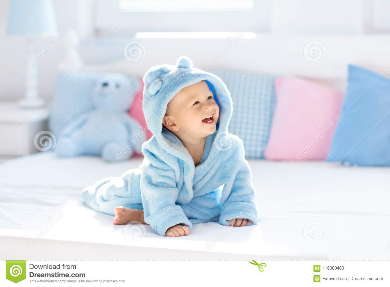 Baby In Bathrobe Or Towel After Bath Stock Image - Image of blue ...