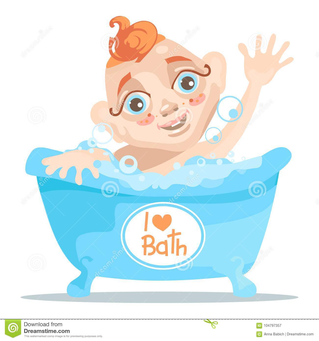 Baby In The Bathtub With Bubbles With Hands Up, Adorable And Cute ...