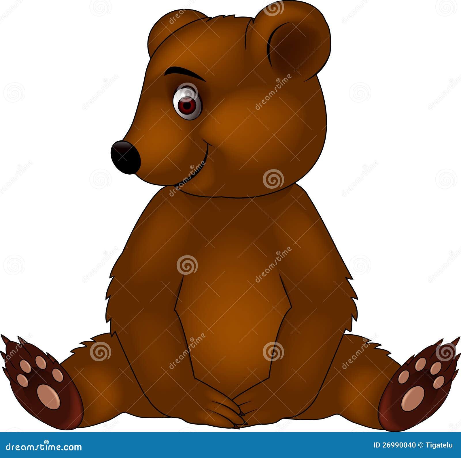 Baby bear cartoon stock vector image of painting happy