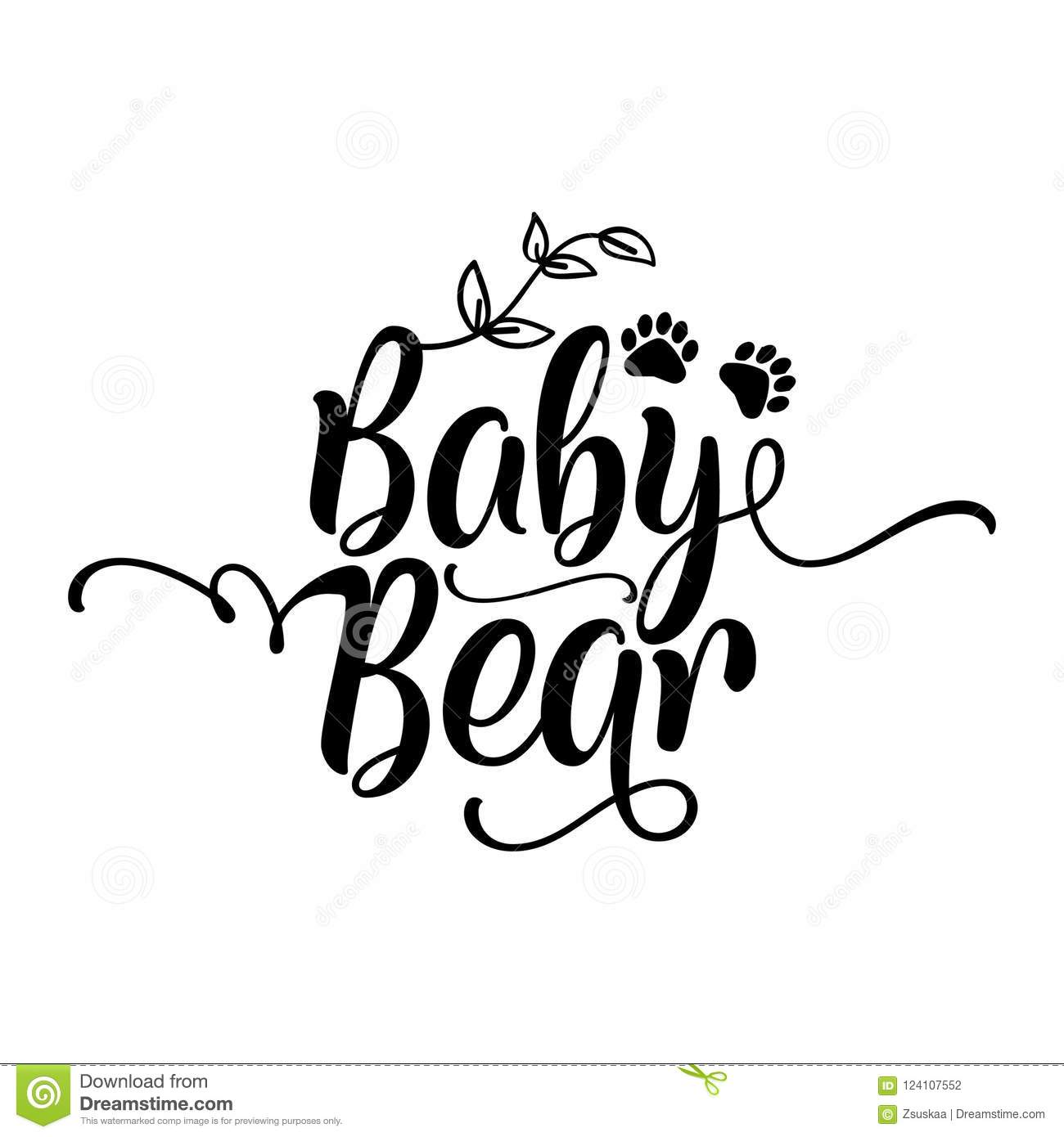 Baby Bear - Handmade calligraphy vector quote