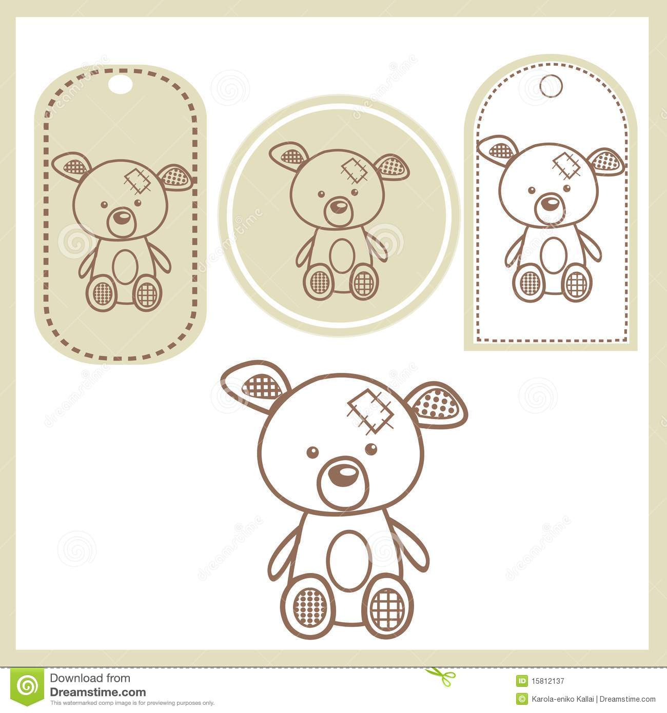 Baby Teddy Bear Pink And Blue Tag Label Stock Illustration - Image ...