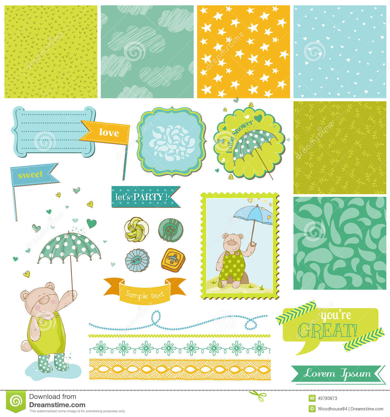 Baby Shower Decorations Vector ~ Baby bear shower theme design elements stock vector