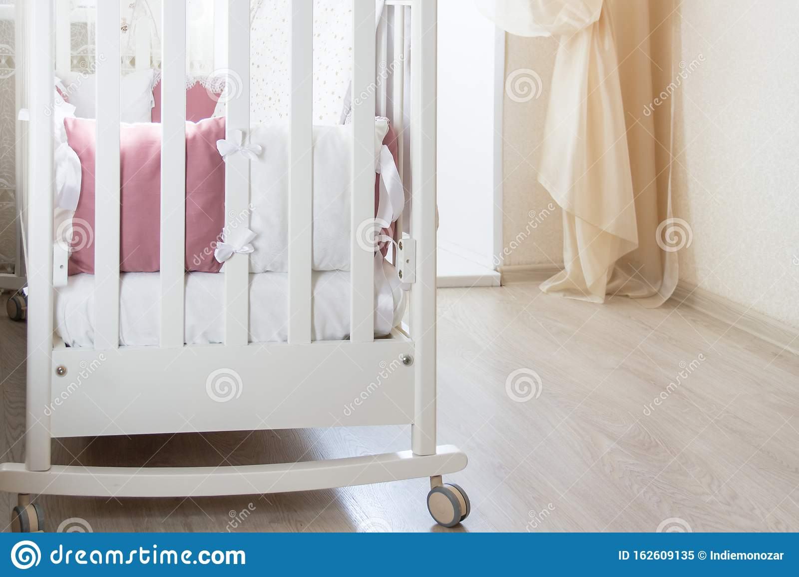 Baby Bed Crib With White And Burgundy Color Pillows With Laces Stock Image Image Of Design Light 162609135