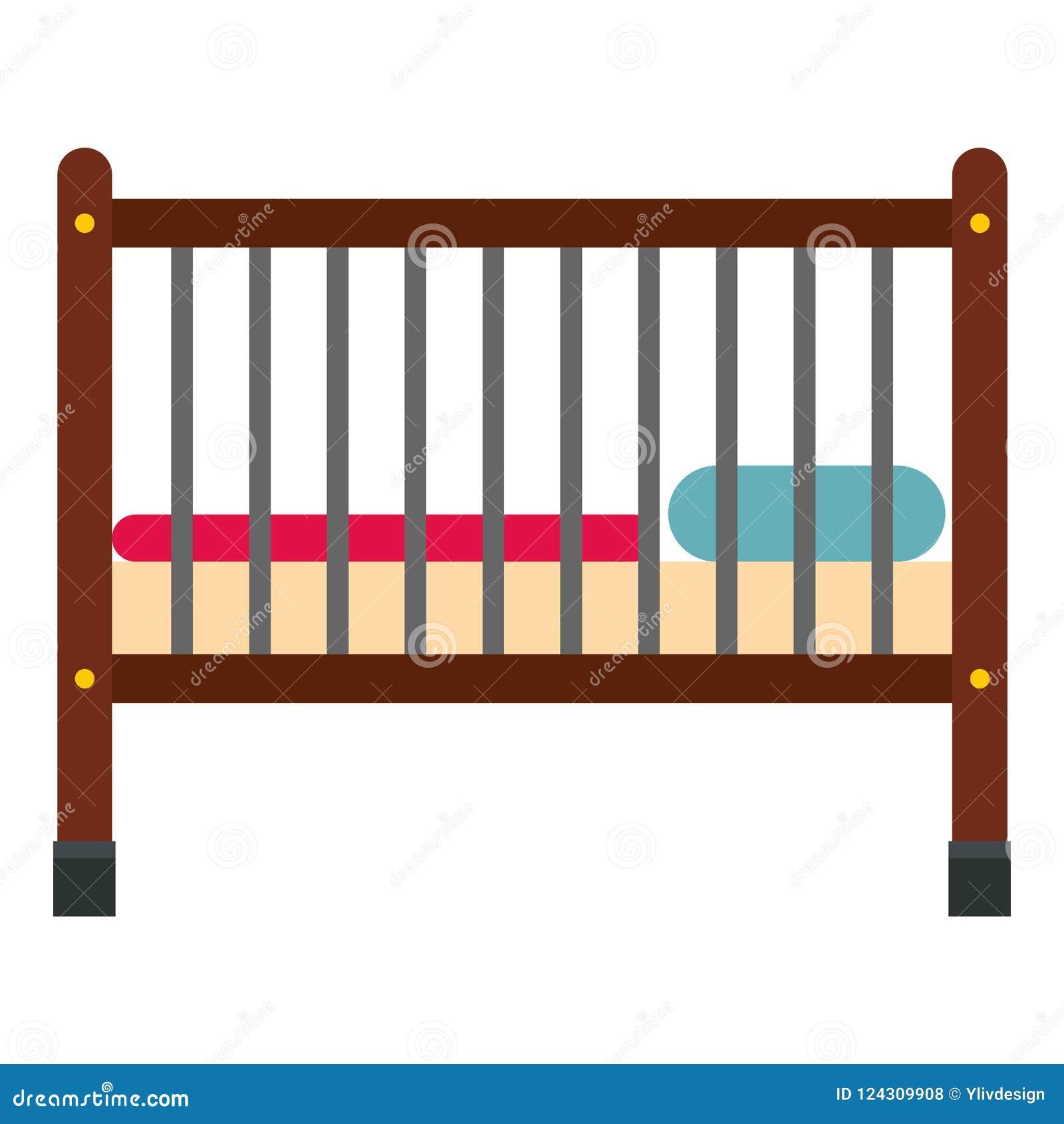 Baby Bed Icon Flat Style Stock Illustration Illustration Of
