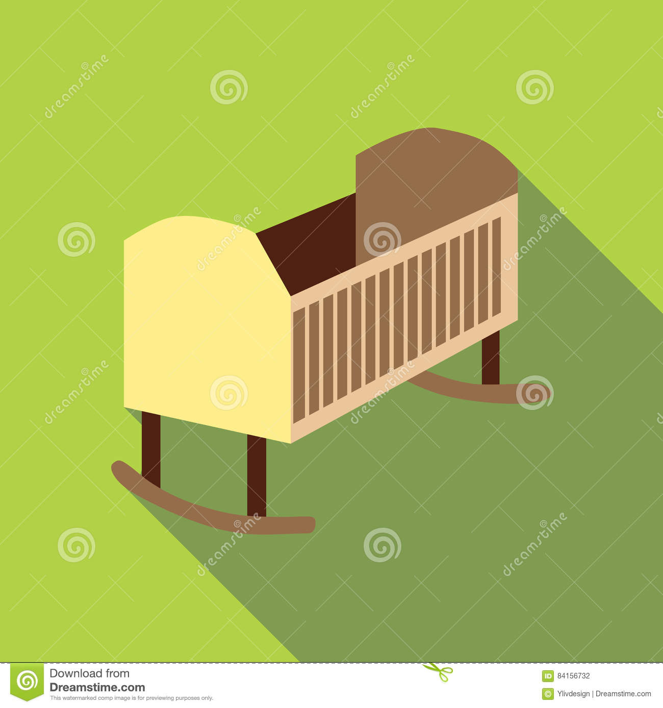 Baby Bed Icon Flat Style Vector Illustration