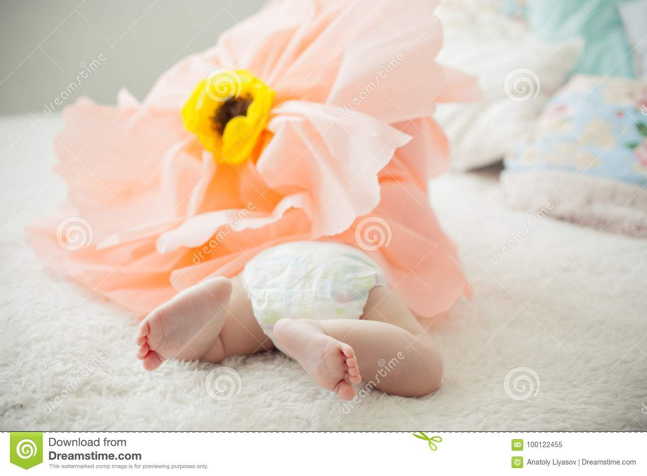 Baby On The Bed In A Paper Flower Stock Image Image Of Baby