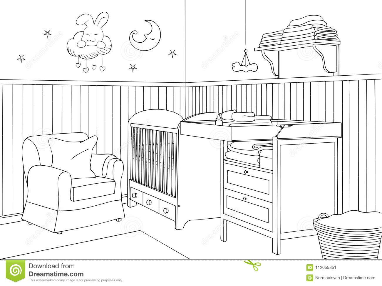 Picture Book Illustration Making An Architectural Model: Baby Bedroom Outline And Sketch Vector Illustration Stock