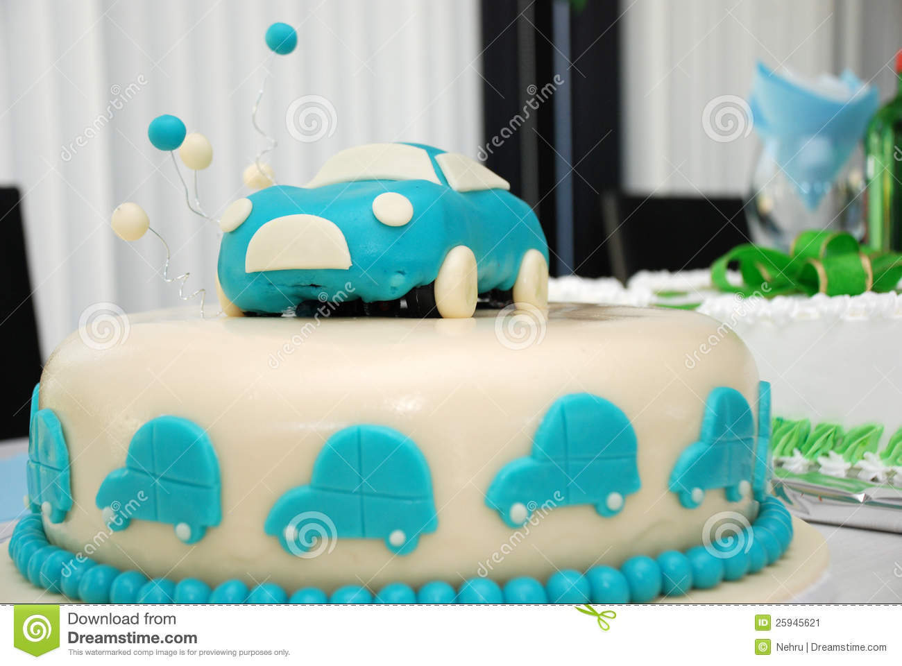 Baby Boy Blue Birthday Cake With Car Stock Image Image of frosted