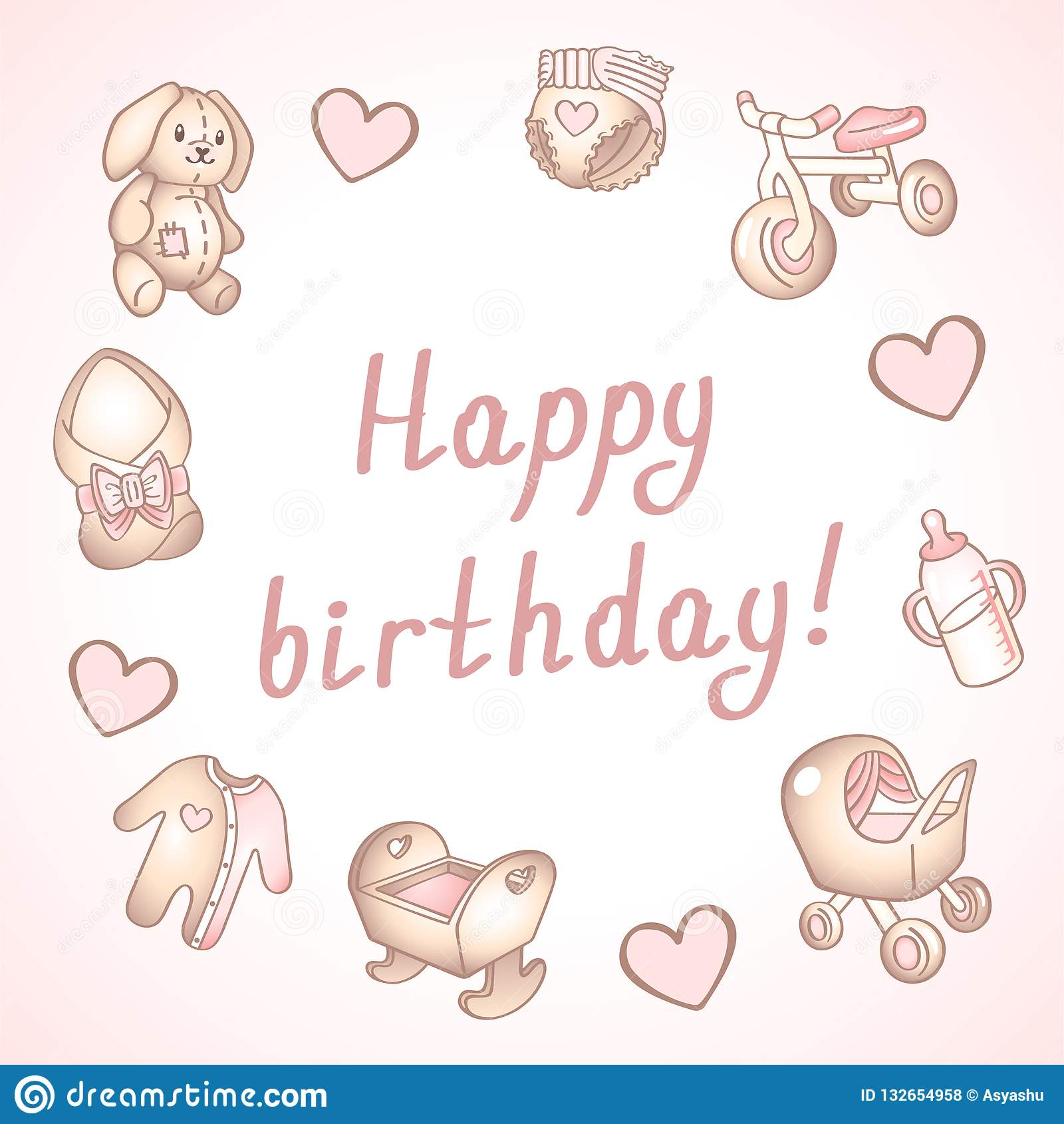 Baby birthday card, shower card, poster, template. Cute vector illustrations. Set of baby toys, feeding and care.