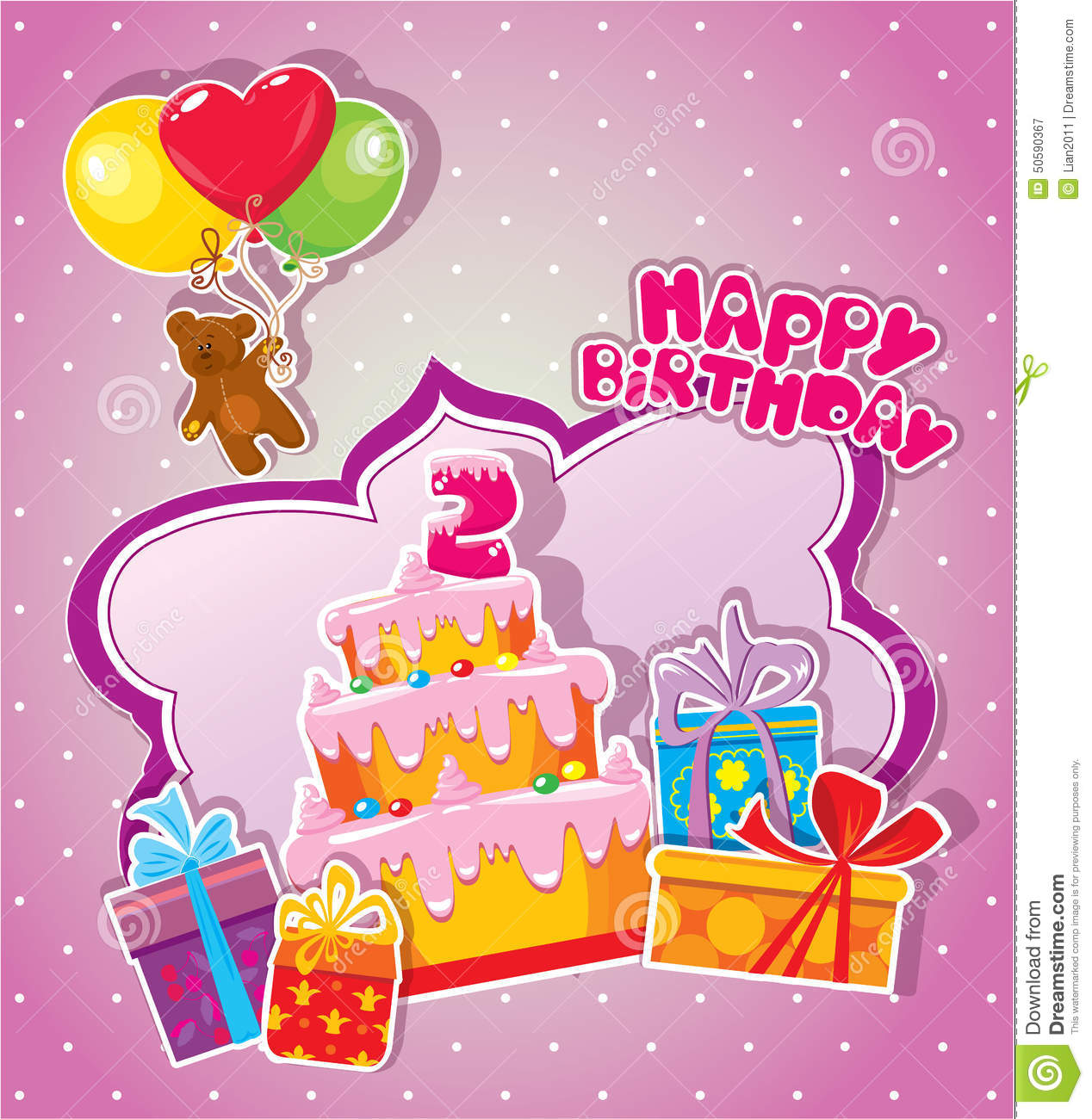 Baby Birthday Card With Teddy Bear, Big Cake And Gift