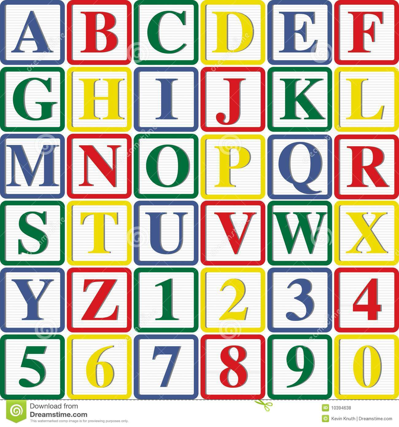 Baby Block Letters And Numbers Stock Illustration Illustration Of