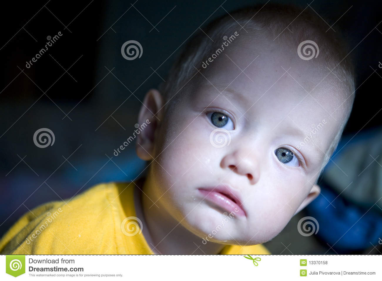 Baby Blond Boy With Blue Eyes Stock Photo Image Of