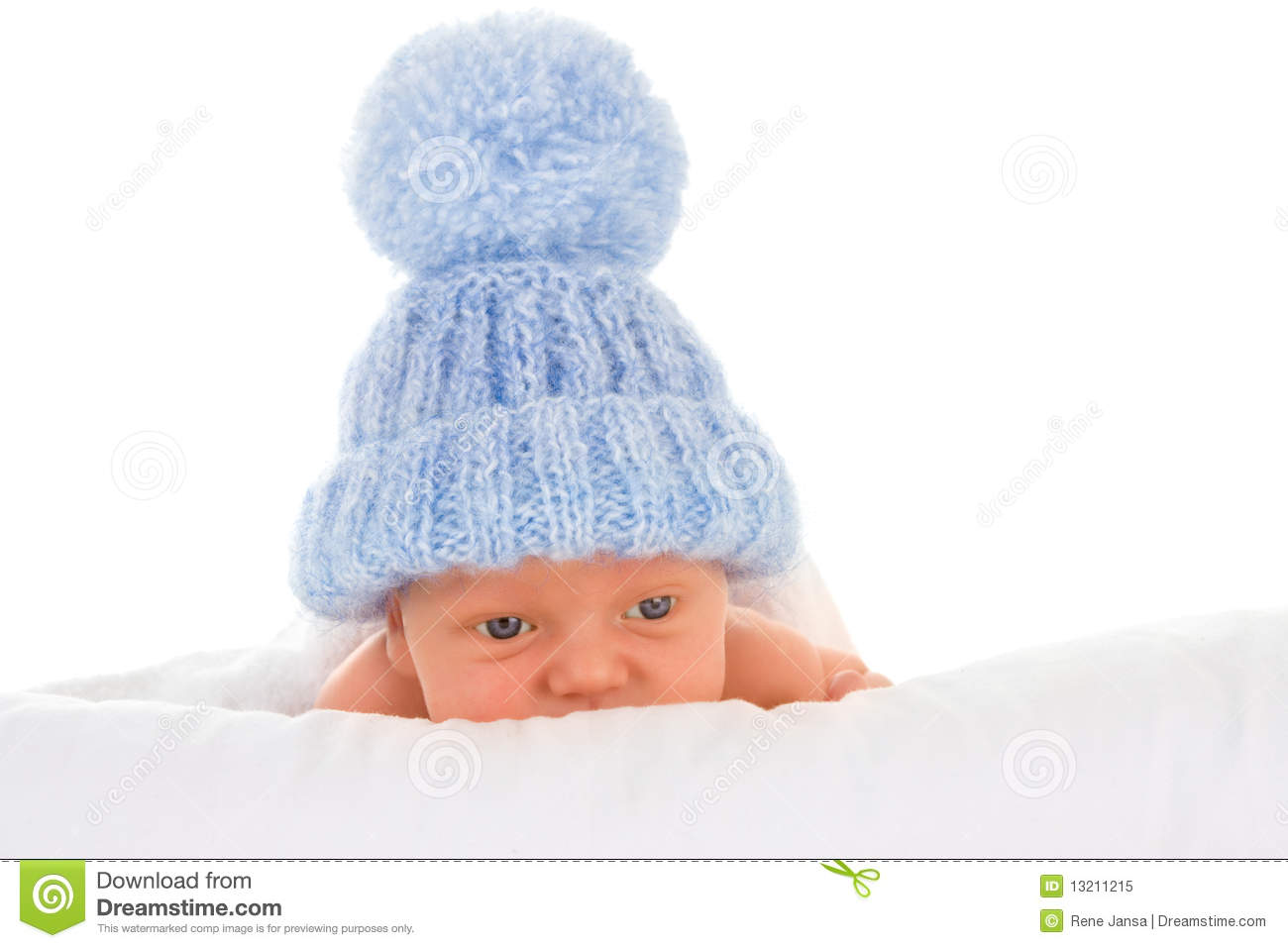 Baby in blue bobble hat stock image. Image of kiddie - 13211215 c0fa6f65cd0