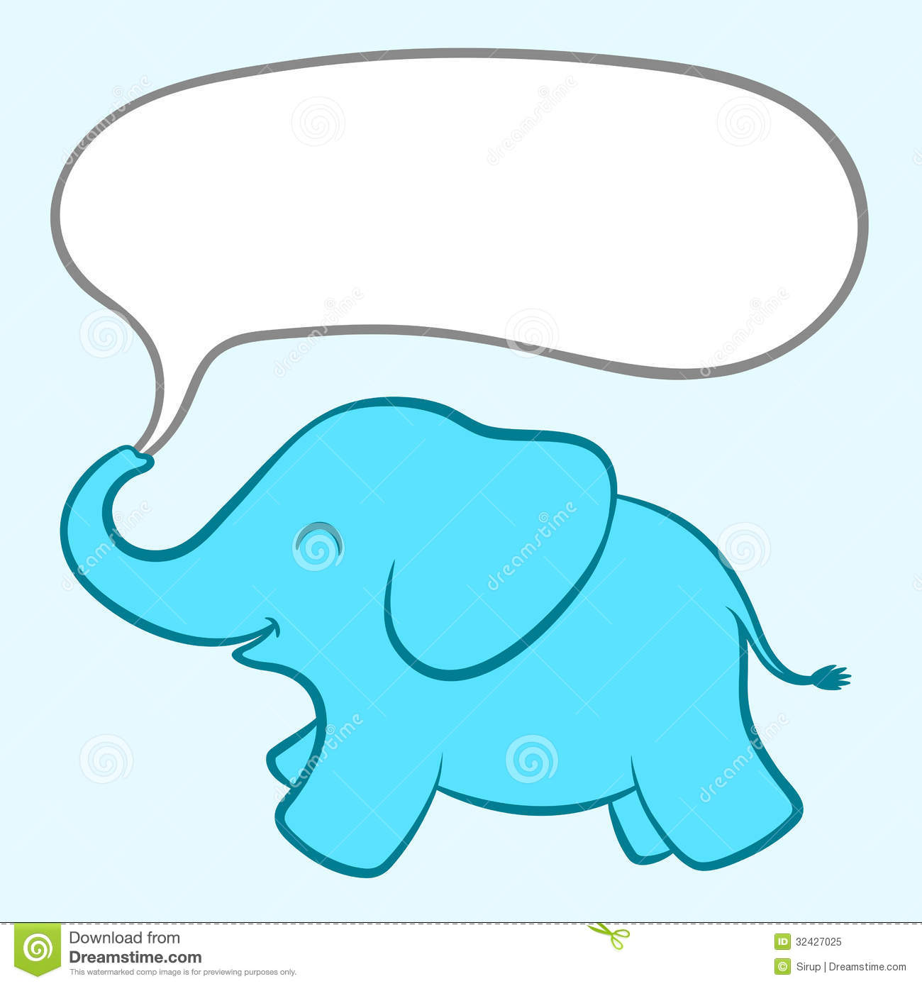Cartoon illustration of an adorable little baby blue elephant with a