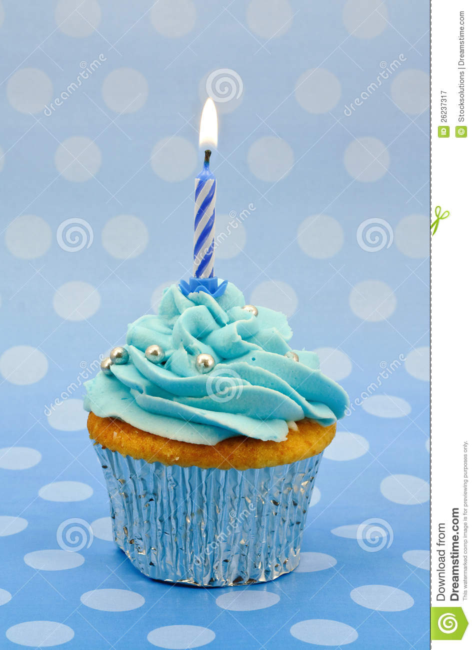 Baby Blue First Birthday Cupcake Royalty Free Stock ...