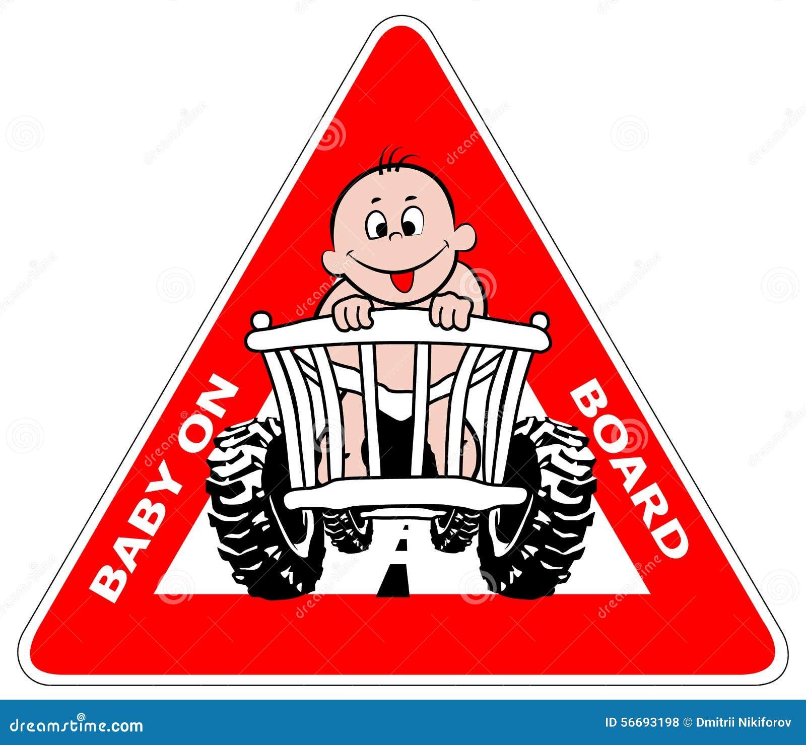 Baby on board sticker on car vector illustration