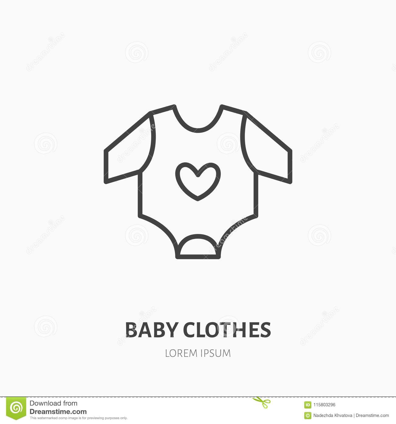 75f8ce7f3c45 Baby Bodysuit Flat Line Icon. Children Apparel Store Sign. Thin ...