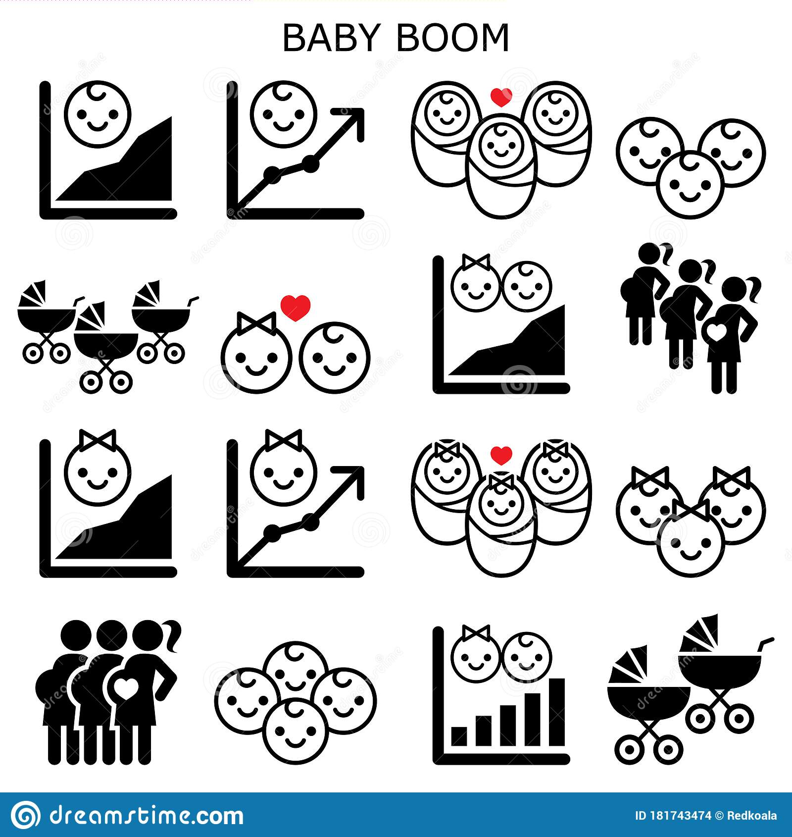 Baby Boom, Baby Boomer Generation Vector Icons Set ...