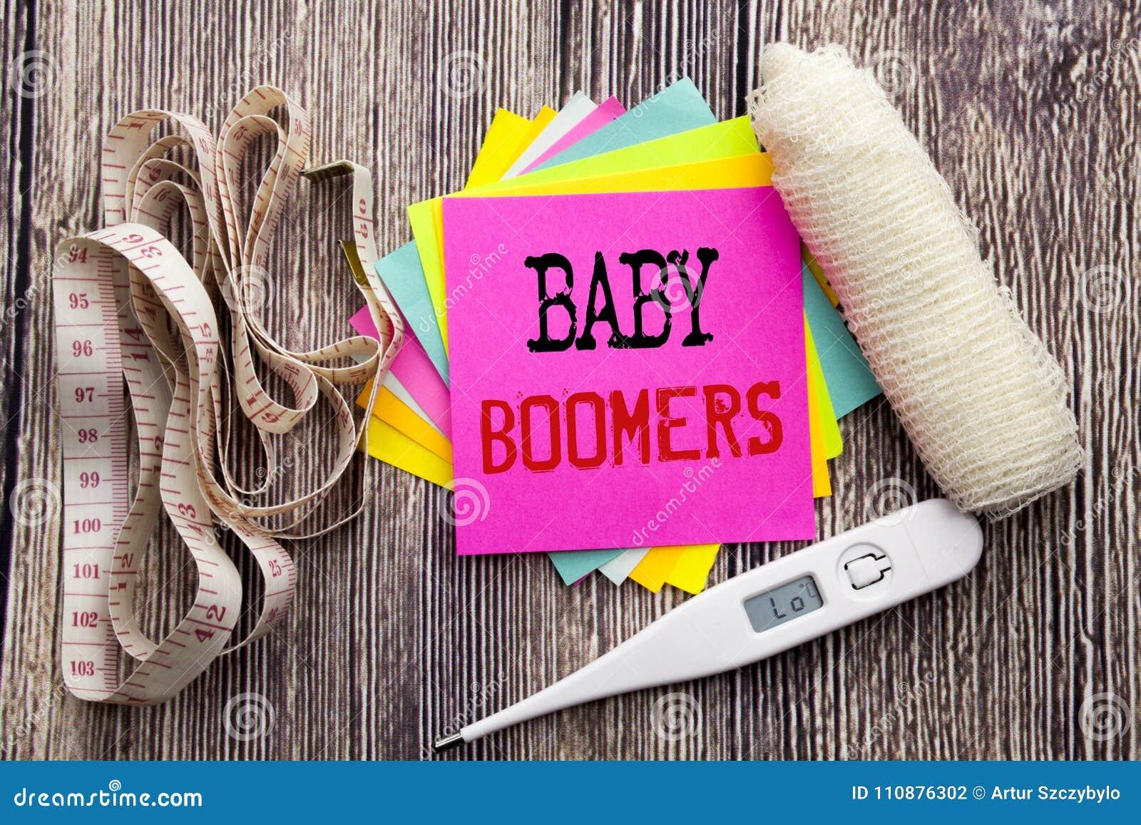 Baby boomers des textes d annonce d écriture Concept de santé de forme physique d affaires pour la note collante écrite par génér