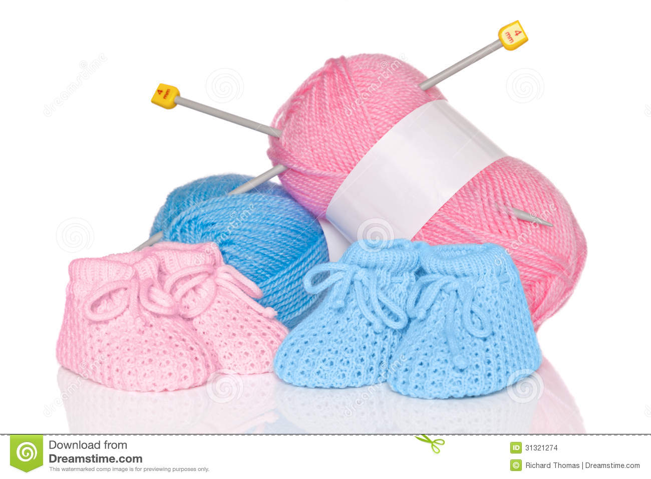 Knitting Patterns Wool And Needles : Baby Booties With Wool And Knitting Needles Stock Images ...