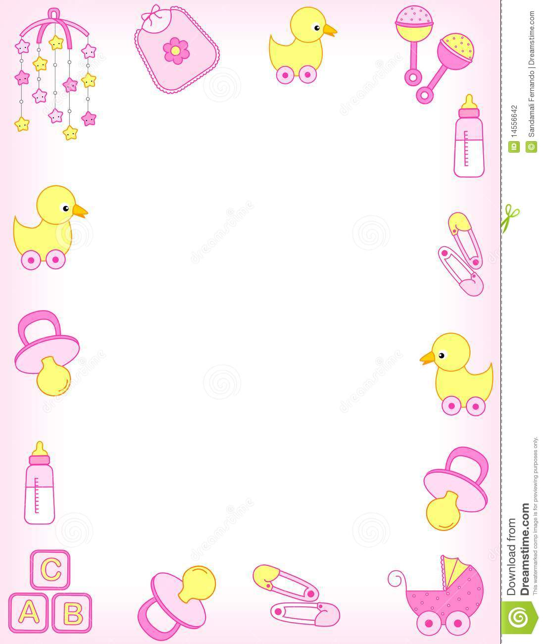 Baby girl accessories border including carriage  safety pins  pacifier    Baby Girl Borders