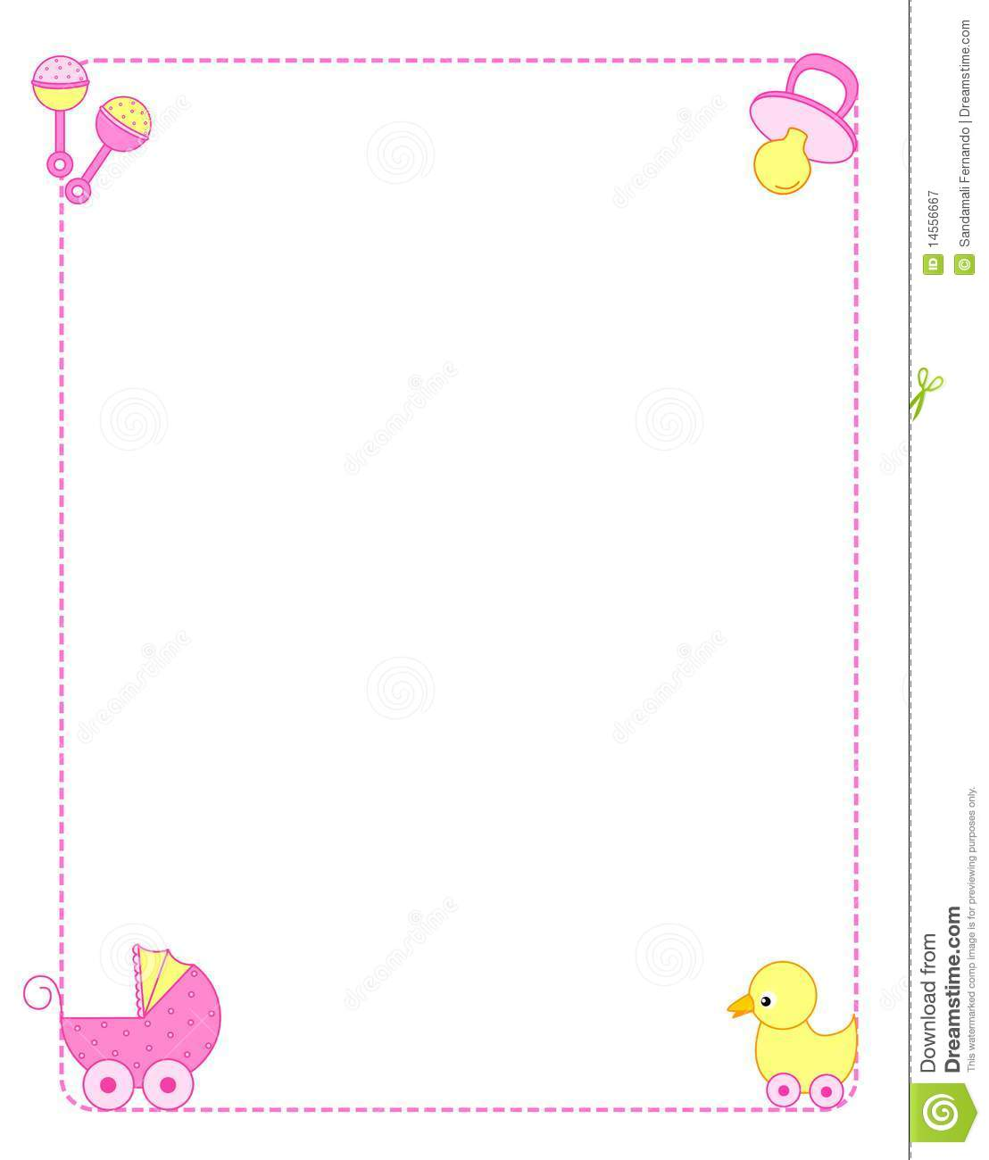 Cute baby girl border   frame with colorful baby accessories on    Baby Girl Borders