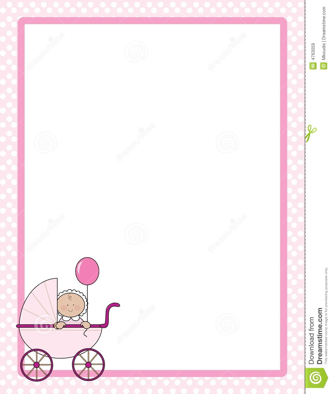 Polka dot border with baby girl in a carriage in one corner.