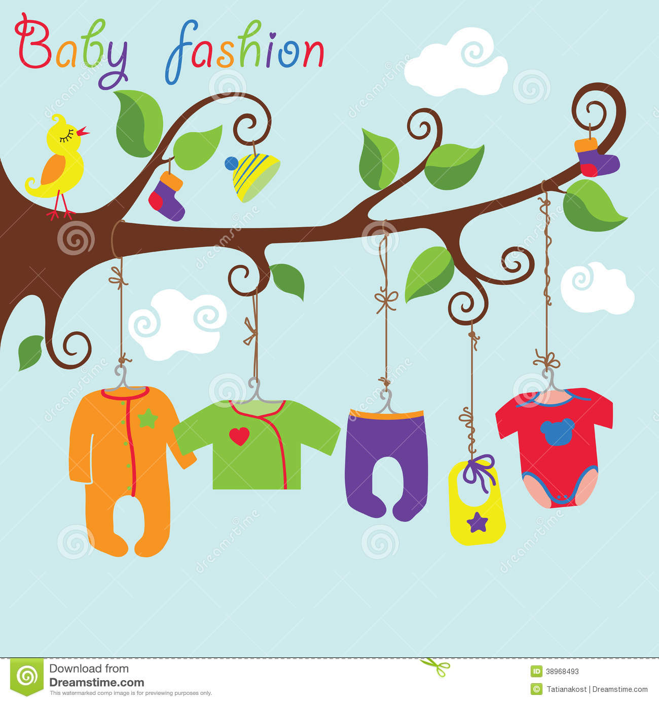 Baby Born Clothes Hanging On The Tree Baby Fashion Stock