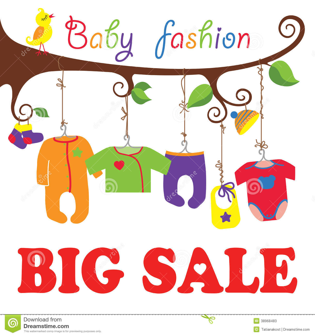 52433b97b87eb Colorful clothes for newborn baby hanging on the rope in the tree branches.  Baby born clothes hanging on the tree.Big sale for Baby fashion.