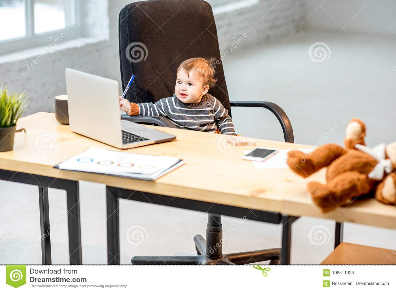 Baby boss at the office