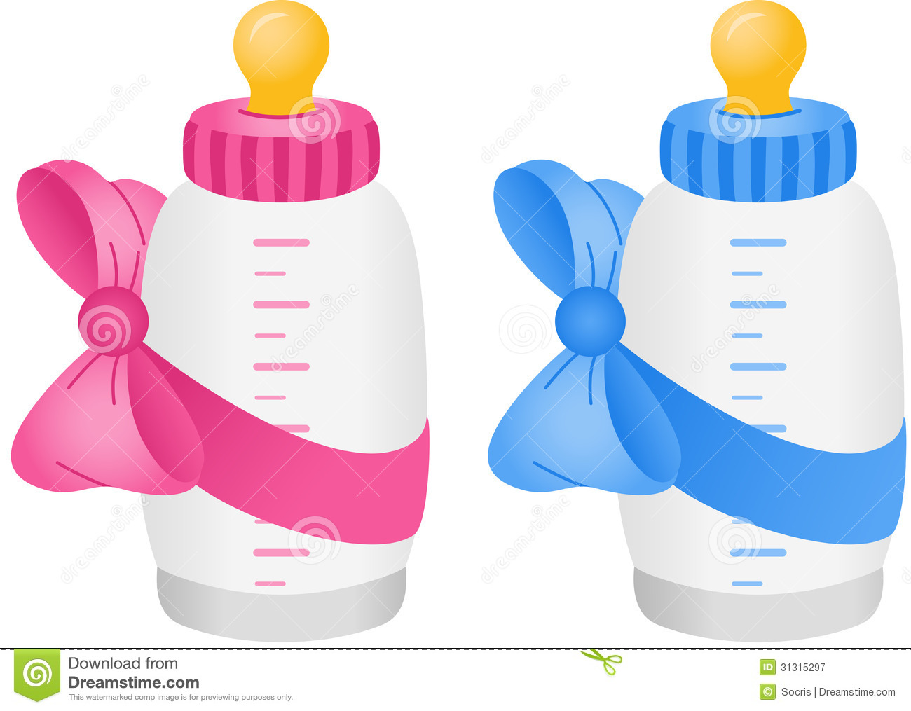 ... image representing a baby bottle with bow tie, isolated on white