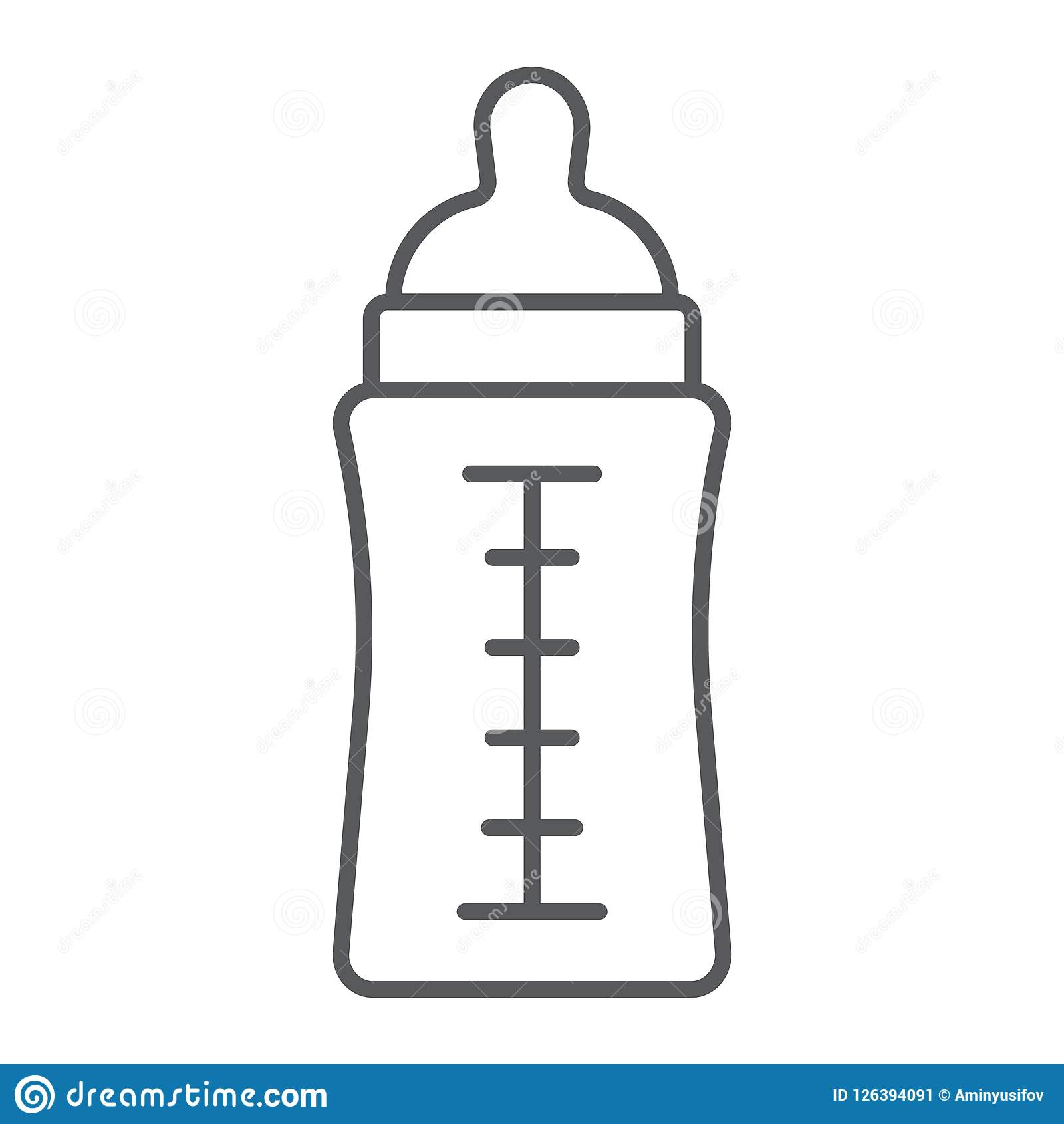 Baby bottle thin line icon, feed and milk, container sign, vector graphics, a linear pattern on a white background.