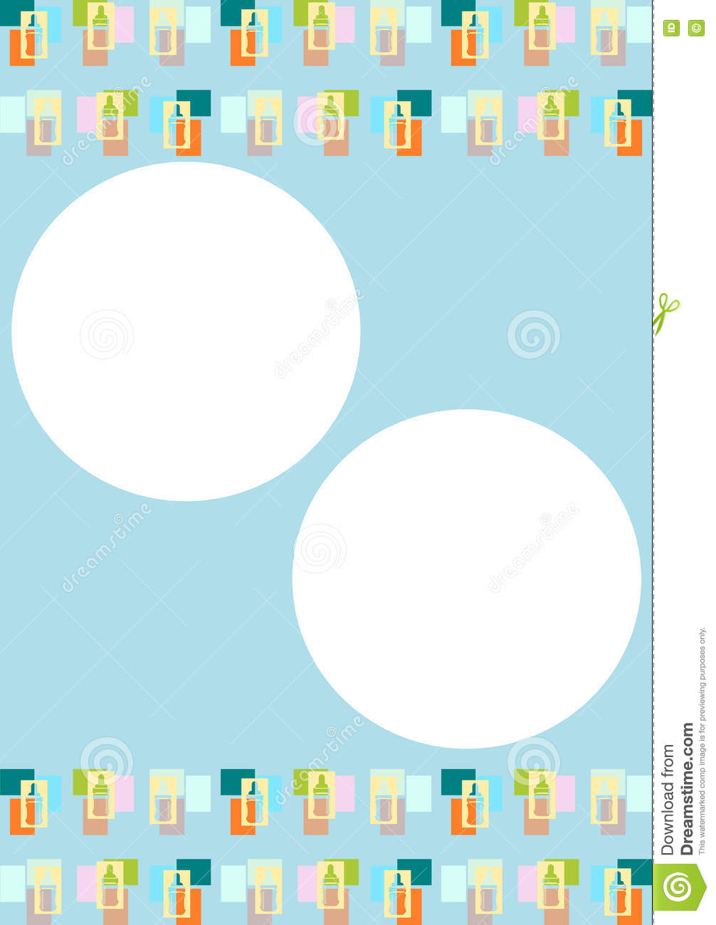 baby bottles template or background for infants or newborns stock