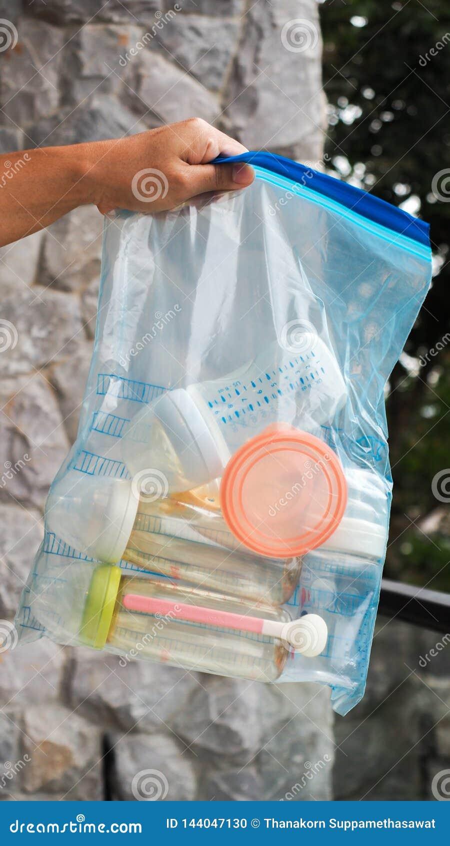 Baby Bottles In A .Zip-lock Plastic Bags Stock Photo ...