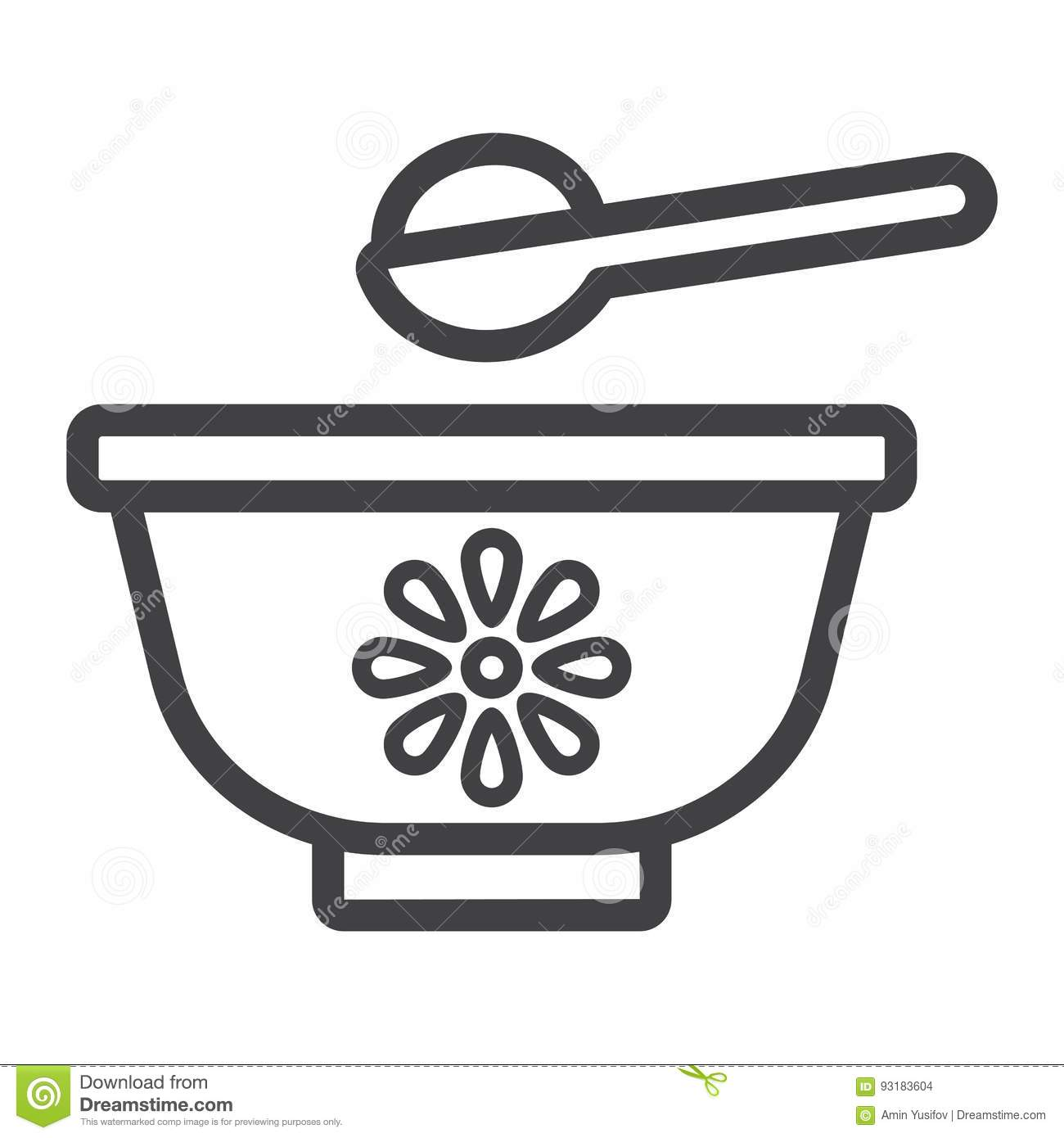 Baby Bowl Line Icon, Baby Food And Nutrition Stock Vector ...