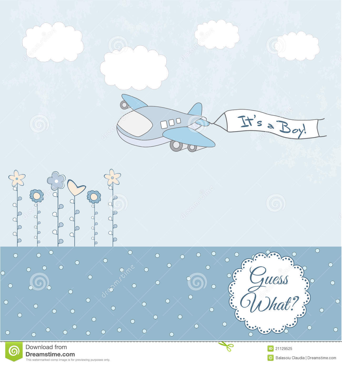 Baby Boy Announcement Card With Airplane Royalty Free Stock Image ...