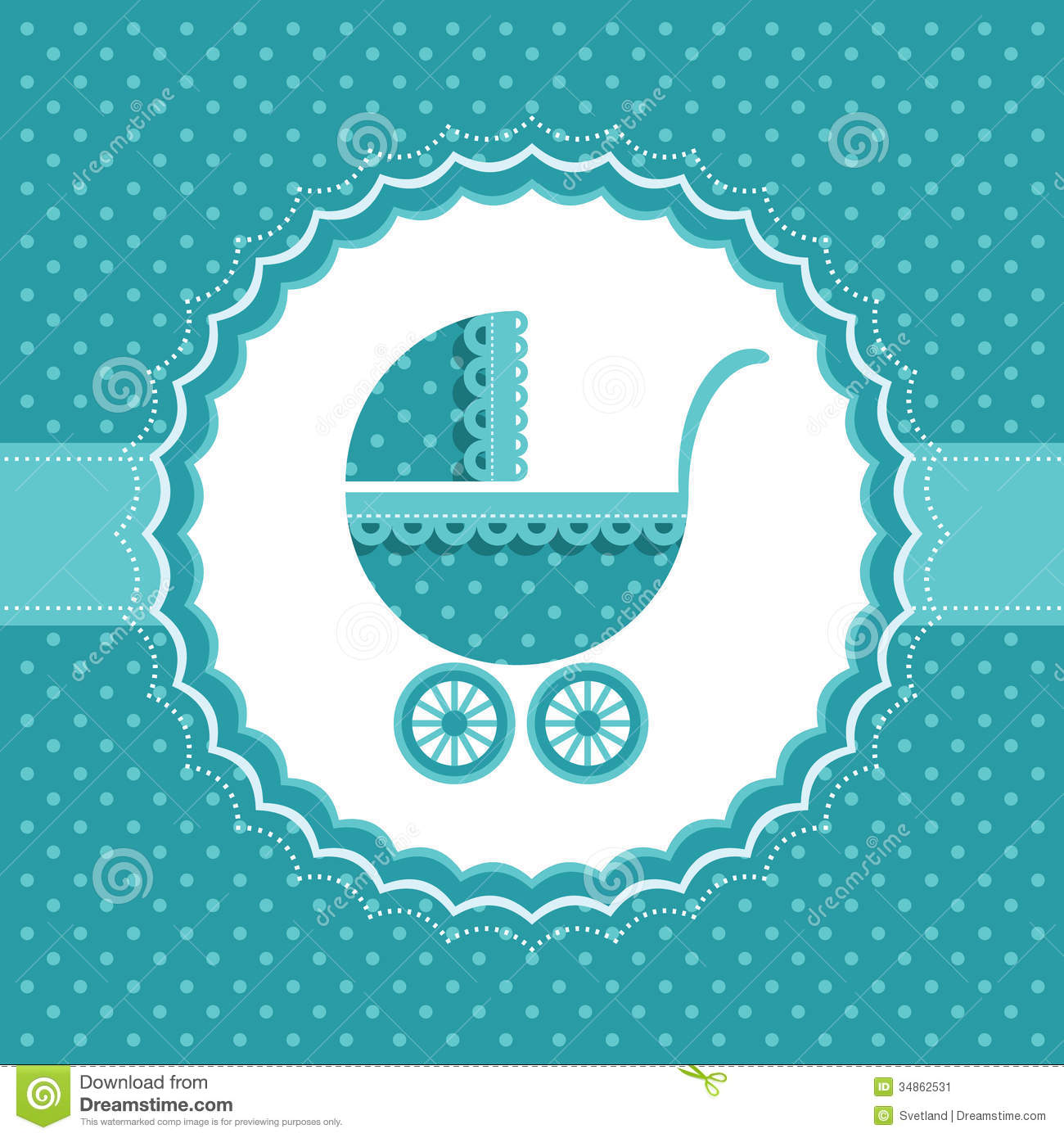 Baby boy announcement card with baby buggy vector illustration