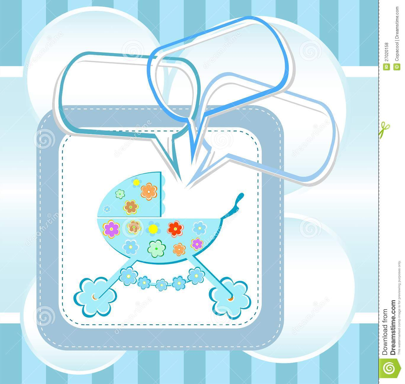Baby Boy Arrival Announcement Card Royalty Free Stock