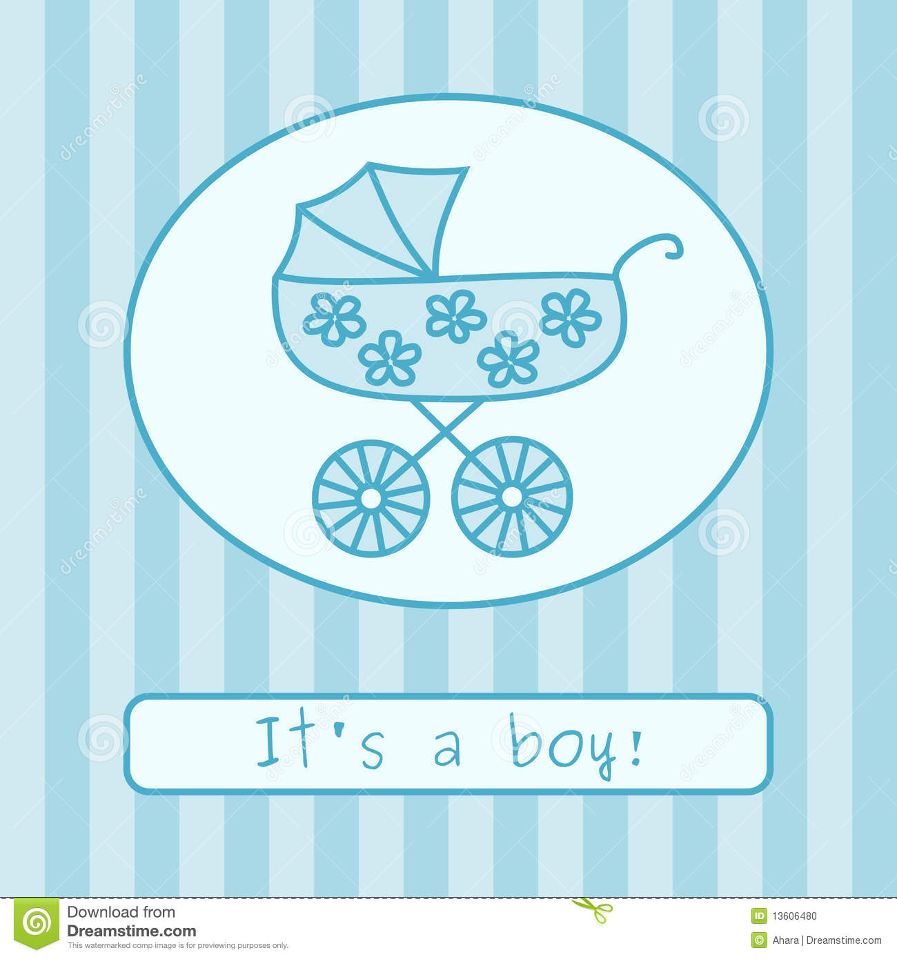 Baby Boy Arrival Announcement (vector) Stock Photo - Image: 13606480